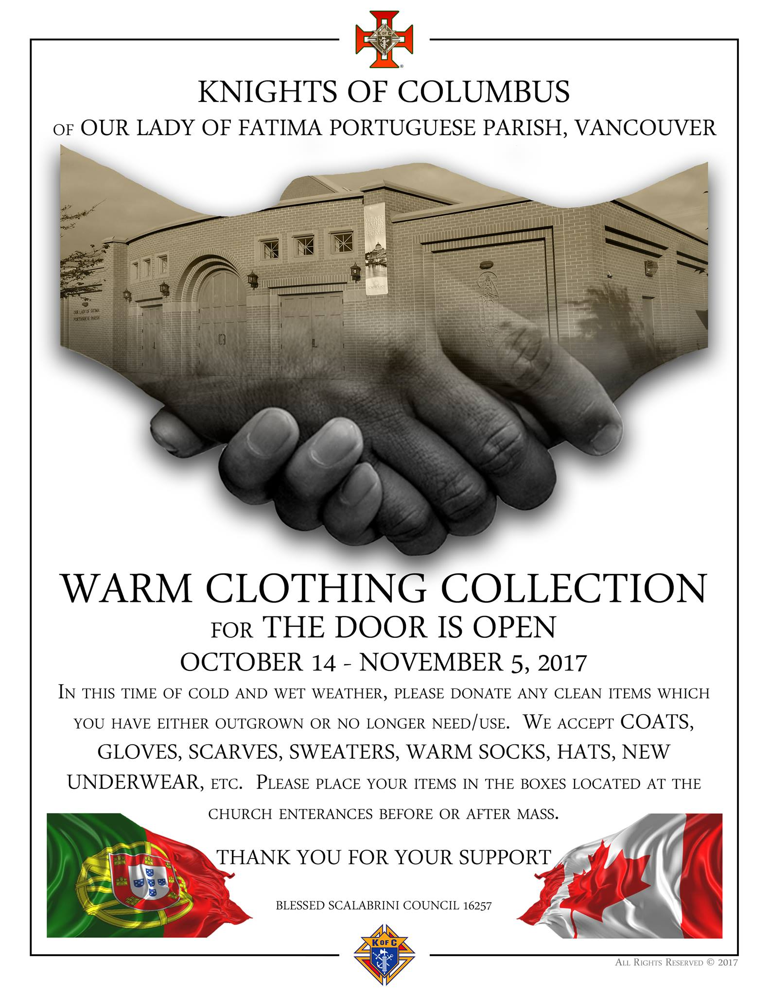 The Knights of Columbus Warm Clothing Collection