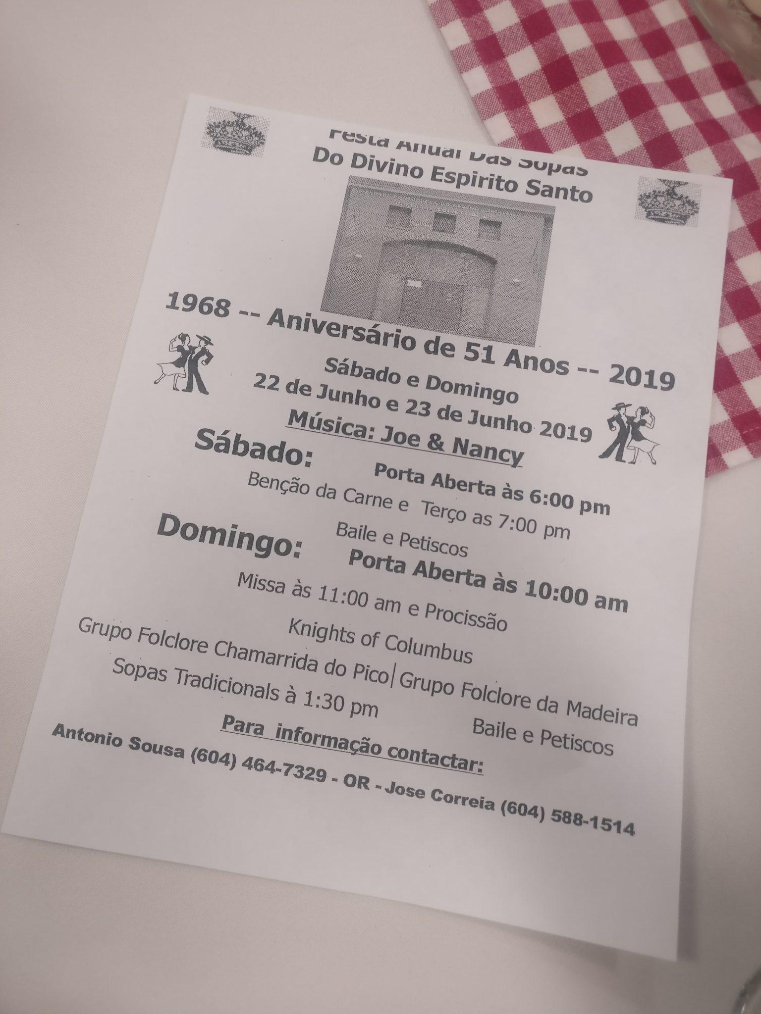 Festa Anual Das Sopas e Aniversário de 51 Anos, Espirito Santo Hall, Irmandade Portuguesa Do Divino Espirito Santo Cultural Society of BC